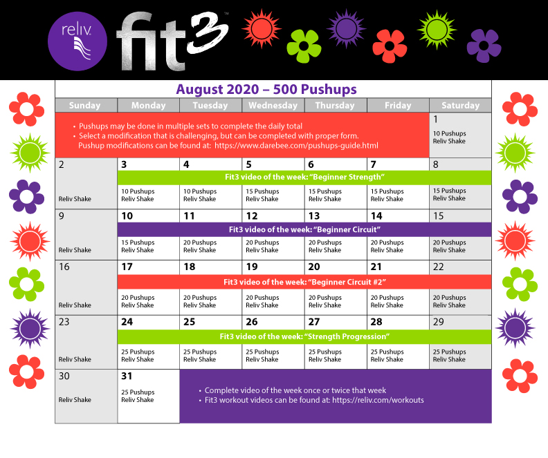 Reliv August 2020 Daily Moves Calendar