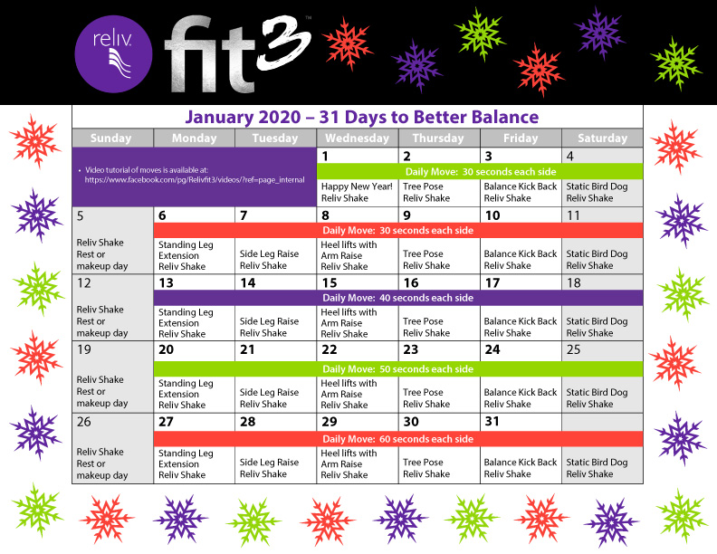 Reliv January Daily Moves