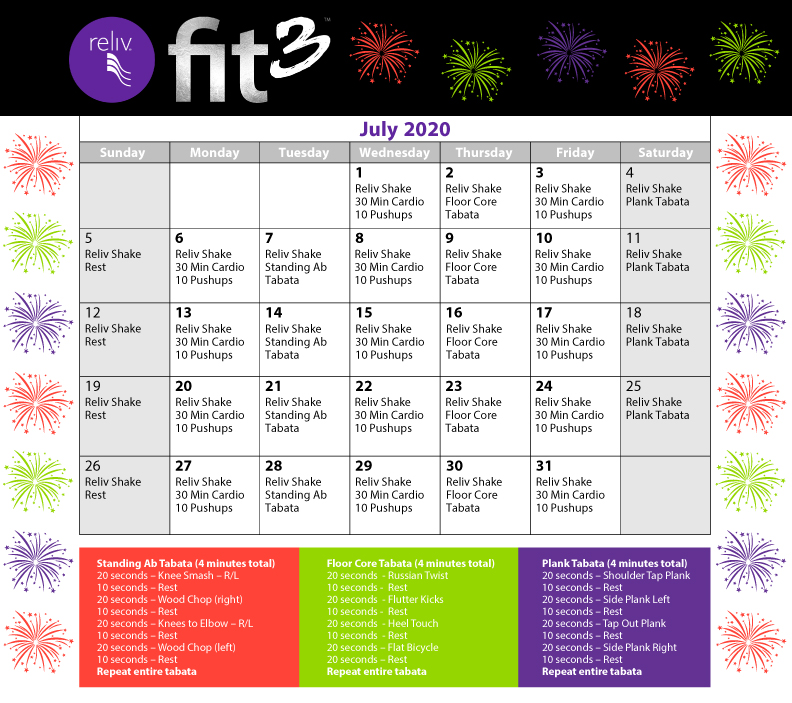 Reliv July 2020 Daily Moves Calendar