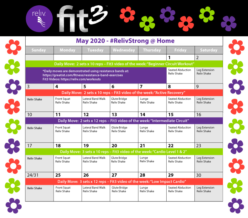 Reliv May 2020 Daily Moves Calendar