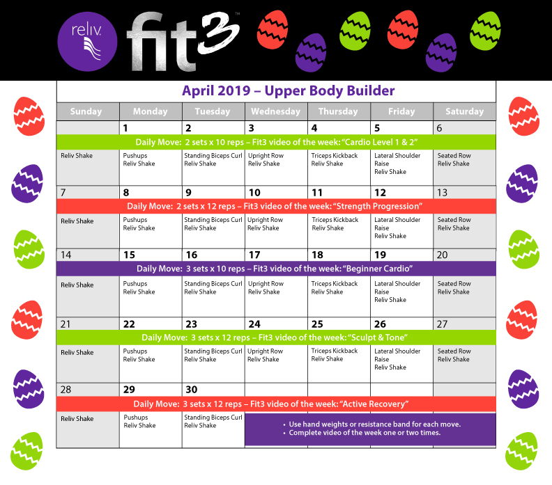 Reliv April 2019 Daily Moves Calendar