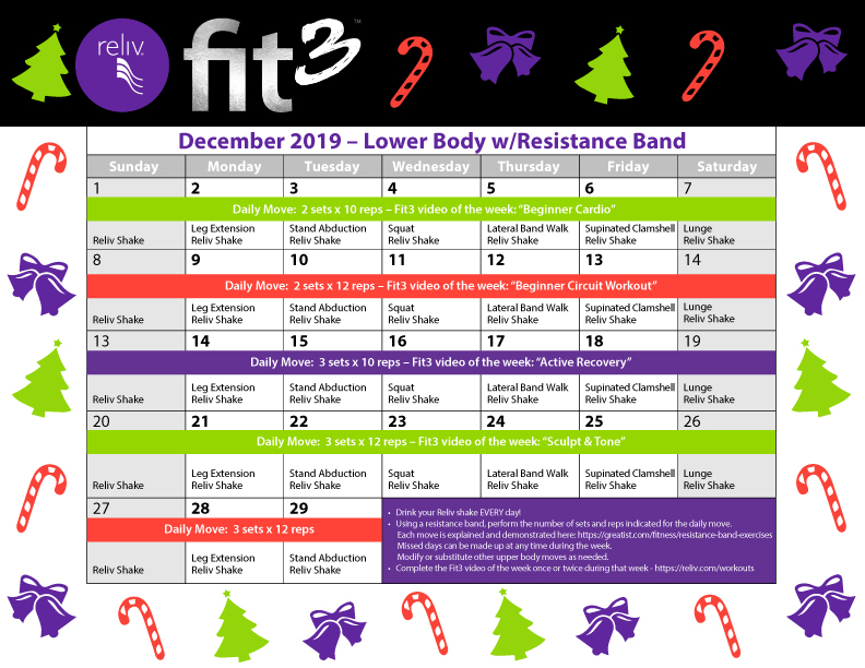 Reliv December 2019 Daily Moves Calendar
