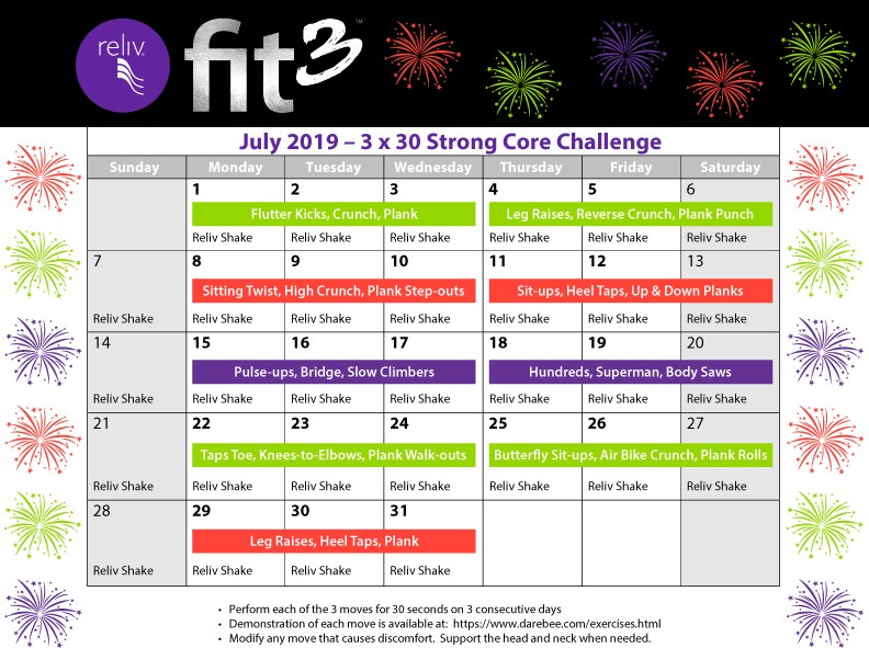 Reliv July 2019 Daily Moves Calendar