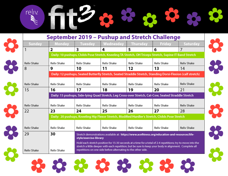 Reliv September 2019 Daily Moves Calendar